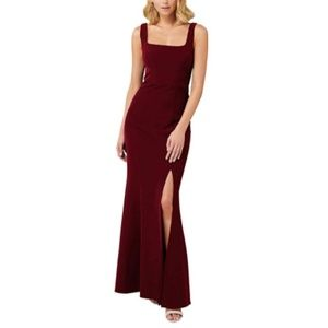 Sleeveless Gown Square Neck High Slit Maxi